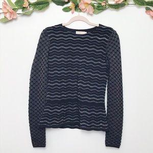 Tory Burch | Peplum Merino Wool Shimmer Sweater S